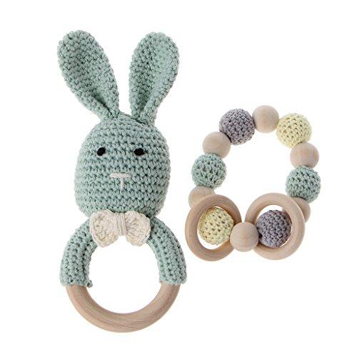 Lyguy, Beißring, Baby-Armband, 2 Stück/Set Baby Beißring, Holz, Häkeln, Beißring, Kauspielzeug - grün