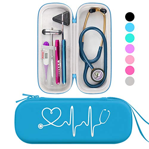 BOVKE Travel Carrying Case for 3M Littmann Classic III, Lightweight II S.E, MDF Acoustica Deluxe Stethoscopes - Extra Room for Medical Bandage Scissors EMT Trauma Shears and LED Penlight, Turquoise