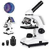 TELMU Microscopio Optico 40-1000X - Microscopio Biologico Monocular con Fuente De Luz LED Y Soporte para Teléfono Móvil