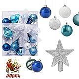 O-Kinee Bolas de Navidad Azul y Plata, Adornos de Navidad para Arbol, 30PCS Bolas para...