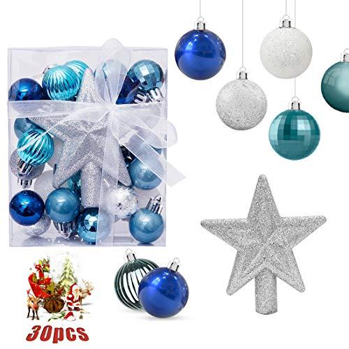 O-Kinee Bolas de Navidad Azul y Plata, Adornos de Navidad para Arbol, 30PCS Bolas para Arbol de Navidad, Decoracion Arbol Navidad,Regalos de Colgantes de Navidad, 3CM (Azul)