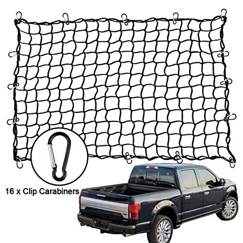 "Big Ant 4'x5' Bungee Cargo Net for Pickup Truck Bed - Heavy Duty Cargo Netting with 16 D Clip Carabiners, Small 4""x4"" Mesh Holds Small and Large Loads Tighter"