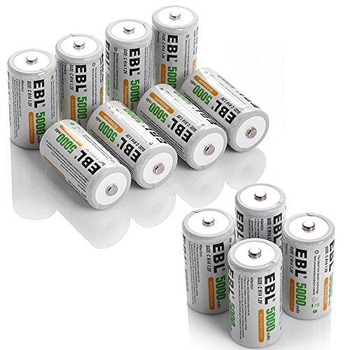 EBL 5000mAh Ni-MH Rechargeable C Batteries, 12 Pack