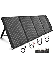 TISHI HERY 120W Portable Solar Panel Foldable with 4 Outputs DC/USB/QC3.0/Type-C Compatible with Most Portable Solar Generators Power Stations Phones Laptops Tablet for Travel/Camping/RV/Hiking