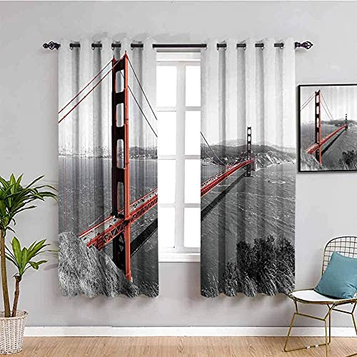 LucaSng Blackout Curtain Thermal Insulated - Gray bridge river landscape - 92x54 inch for Bedroom Kitchen Living Room Boy Girl Window - 3D Digital Printing Eyelet Ring Curtain