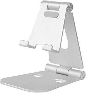 Multi-Angle Phone Holder Metal Stand for Nintendo Switch, iPhone X 8/6 / 6s / 7/7 plus, Foldable Adjustable Tablet Stand Holder, Portable Play stand Cradle (Silver)