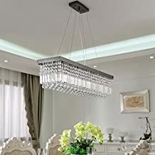 Siljoy Rectangle Modern Crystal Chandelier Ceiling Light Raindrop Pendant Light for Dining Room Kitchen Island Hanging Lam...