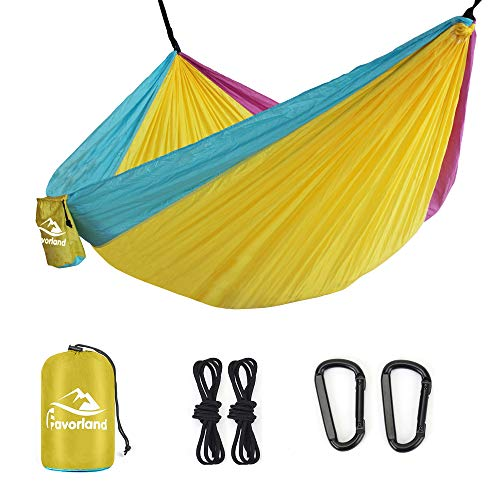 Favorland Camping Hammock Double & Single with Tree Straps for Hiking, Backpacking, Beach, Yard 2 Persons Outdoor Indoor Lightweight & Portable with Straps & Steel Carabiners Nylon (Yellow-Blue-Pink)