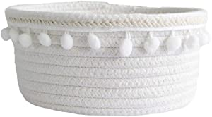 Sroomcla Basket Natural Cotton Rope Storage Baskets Set for Home Decor Cupboard Toy Office Cosmic Kids Bedroom Storage Nursery White White