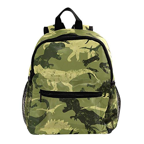 Book Bags Camouflage Dinosaur Bag School Designer Cute Casual Backpack Cool Elementary Rucksack for School Children 10x4x12 in
