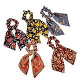 HAOXU Bandas de pelo retro, 5 piezas retro floral coleteros coleteros para el pelo para mujeres y niñas