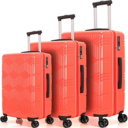 """Merax Luggage Sets 3 Pcs Spinner Suitcase ABS+PC Hardshell Lightweight 20""""24""""28"""" (3 Pcs Set-Coral Red)"""