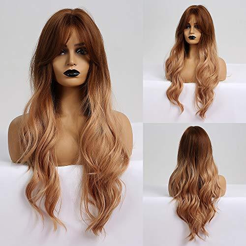 HARICUBE Ombre Perücken Lange gewellte Perücke Auburn Wurzel Erdbeerblondes Haar Perücken mit Pony 26 Zoll synthetische Perücken für Frauen