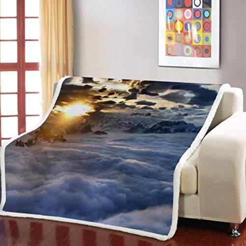 RKZM Blue Sky White Cloud Sherpa Blanket 3D Printing Sofa Blanket Soft Landscape Blanket Home Blanket Bedroom Nap Office Blanket 150 * 200cm