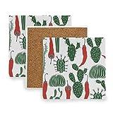 MALPLENA Cactus con posavasos de chile para bebidas, mejor regalo para el registro de bebidas de inauguración de la casa, madera, 1, 4 pieces set