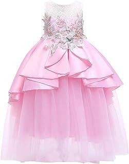 43384727a22fa ❤️Filles Robe PANPANY Enfant sans Manches Fleur Irrégulière Couture Jupe en  Maille Robe Jupe Princesse