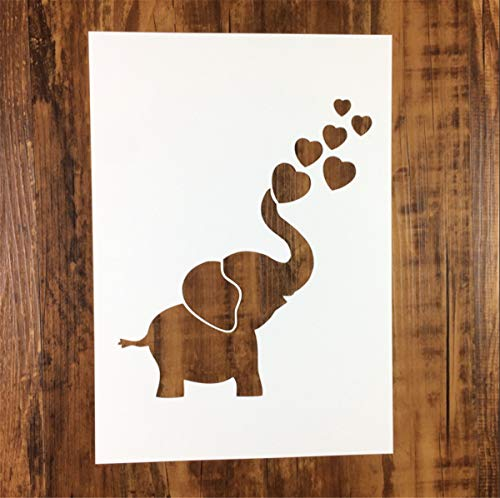 Zzooi Cute Baby Elephant Stencil for DIY Shirts DIY Kids Room Wall Painting,Large