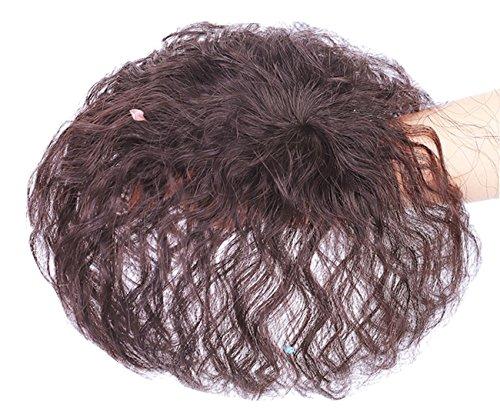 Topjin Middle Aged Lady 15,2 cm Clip en court Cheveux bouclés Cheveux humains Top Extensions de cheveux postiches
