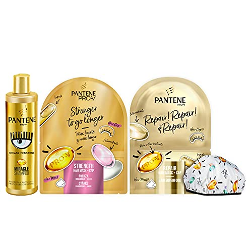 Pantene Pro-V by CHIARA FERRAGNI Miracle Shampoo Protezione Cheratina, 250 ml + 2 x Maschera&Cuffia per Capelli, 1 Maschera 20 ml + 1 Cuffia, Regalo, EDIZIONE LIMITATA