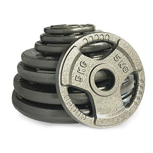 Anysun 2'' Olympic Weight Plates Cast Iron Tri Grip Strength Training Fitness 7.5KG 10KG 15KG 20KG (Black, 20KG*1Pc)