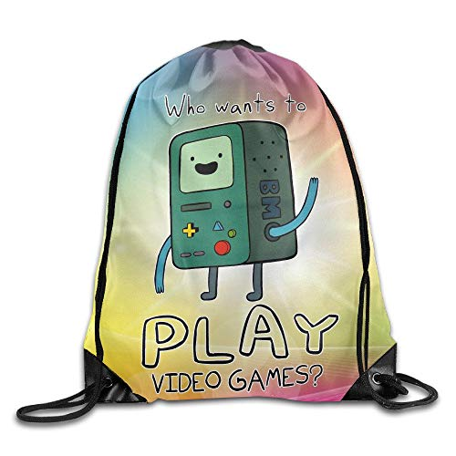 Adventure Time with Finn and Jake BMO Play Video Games Nylon Drawstring Backpack Home Travel Sport Storage