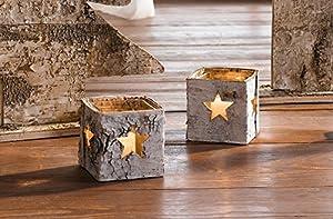 """Birken-Windlicht """"Stern"""", 2er Set weiß gekalkte Birkenrinde mit ausgespartem Stern, herausnehmbarer Glaseinsatz, ideal auch als Vase"""