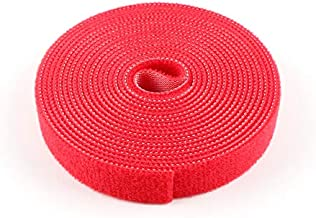 Roll Reusable Cable Straps Cable Ties Hook, Loop Nylon Fastening Wire Tape Organizer for Cords Cable Management,Self Gripping Cord Rope Holder(20feet) (Red)