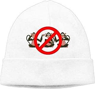 Ghhpws Cute Monkey Hear See No Evil Beanie Wool Hats Knit Skull Caps Warm Winter Beanies for Men Women White