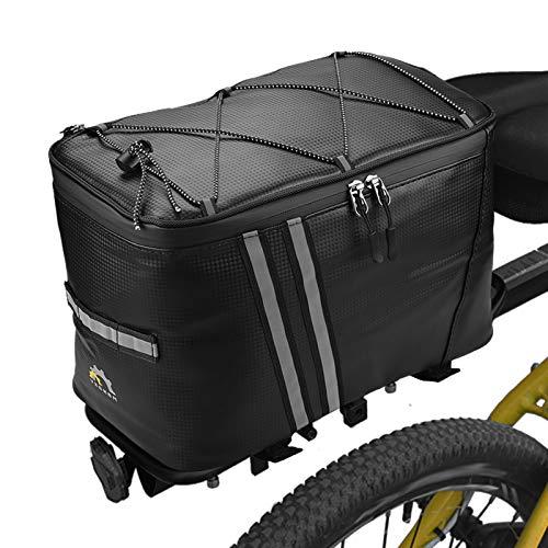 Lixada Fahrradtaschen Gepäckträger Fahrradkoffer Wasserfeste Fahrrad Gepäckträgertasche mit Wasserdichter Regenhülle (12.6 * 7.9 * 8.3in(ohne Regenschutz))