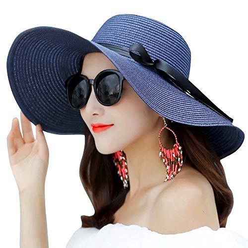 Flying Rabbit Damen Sonnenhüte Faltbarer Strohhut mit Sonnenschutz Breite Krempe …