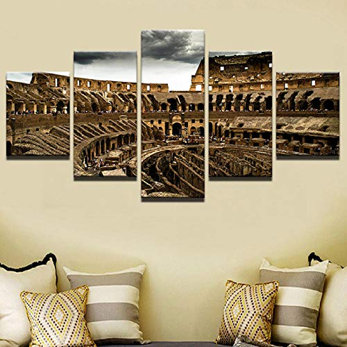 LZASMMVP Carteles e Impresiones en la Pared Cuadros modulares Vintage 5 Piezas El Coliseo Romano Decoración para el hogar Pinturas sobre Lienzo | 40x60 40x80x2 40x100cm Sin Marco