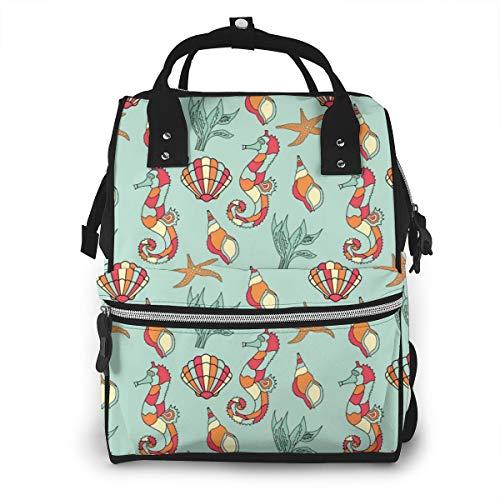 Seashells and Seahorse Mochila de viaje con diseño de caballito de mar y conchas