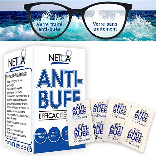 Netoa ® – Paquete de 120 toallitas antivaho para todo tipo de lentes, gafas graduadas, de sol, de natación, máscaras de buceo, prismáticos, ideales contra el vapor y el vaho