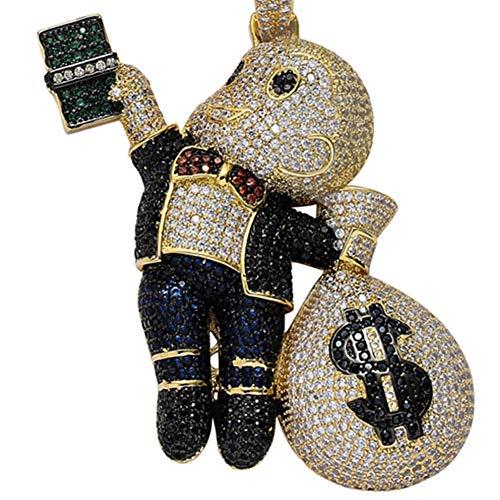 Joyas Kid Money Bag Gema Billete Colgante Collar Lab Diamante Cubic Zirconia Cadena Chapada Oro 18 Quilates Incrustaciones Más de 100 Piedras Una Longitud de Cadena 60 Cm,Black Gold