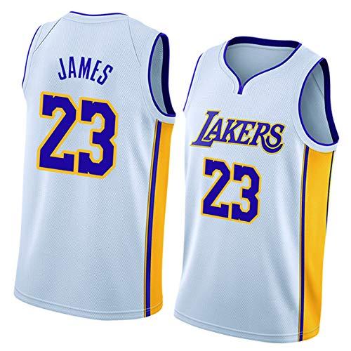 James 23# Kobe 24# Kuzma 0# Lakers Baloncesto Jersey, Tela de Malla de Malla de Uniforme de Baloncesto para Hombre, Secado rápido y Transpirable (S-XXL) Blanco James23#