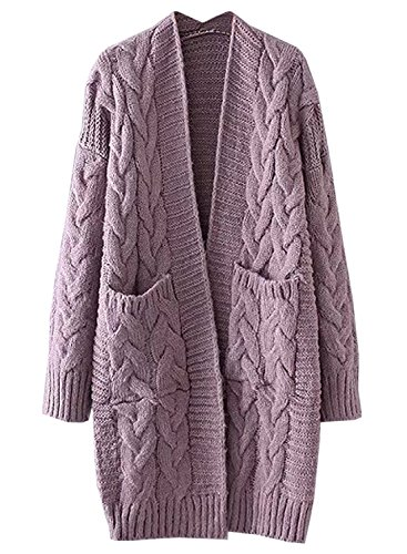 futurino Women's Chunky Twist Knitted Open Front Patch Pocket Long Cardigan Oversized Coat Lavender