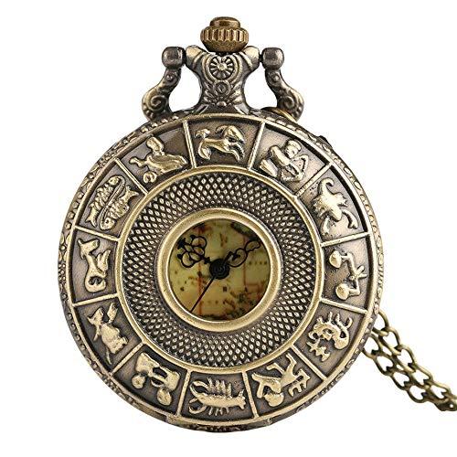 nobrand Taschenuhr, Mode Retro Bronze Karte Gesicht Mann Sternbilder Frauen Quarz Taschenuhr Vintage Hohl Halskette Kupfer Männer Uhren Geschenk