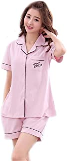 Msy yien レディース 夏 ルームウェアパジャマ 部屋着 半袖 上下セット 前開き ショートパンツ 着心地良い パジャマ(綿100%)