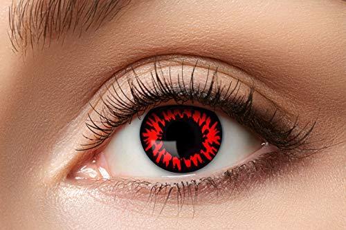 Eyecatcher - Farbige Kontaktlinsen, Farblinsen, Jahreslinsen, 2 Stück, Halloween, Karneval, Fasching, Wolf, rot