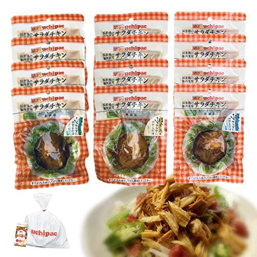 [Amazon限定ブランド] ウチパク 国産鶏胸肉使用 サラダチキンドレッシングin【ほぐしてサラダにのせるだけ】3種類×4個 12パックセット【糖質off・ダイエットに】 ノンオイル・常温保存・保存料着色料無添加