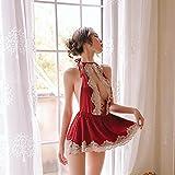CIDCIJN Camisón De Pijama De Mujer - Encaje Sin Forro Plunge Babydoll Halter Escote Sexy Lindo Sujetador Abierto Y Vestido De Noche Exótico Espalda con Falda Juguetona, Rojo, L