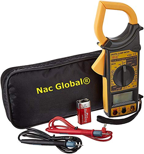 Nac Global® Standard DT-266 Ac Dc Digital Clamp Multimeter Auto Ranging Amp Current Voltage Measurement Device Ammeter Tong Tester with Accuracy Clamp meter carry case