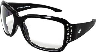 Birdz Eyewear LadyBird Sports Fashion Anti-Fog Foam Padded Sungl with Rhinestones Black Frames & Clear Lenses