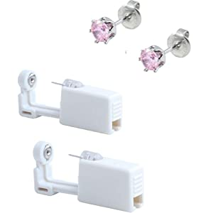 Ear Piercing Gun Disposable Self Mixed Colors Ear Piercing Gun Kit Safety Ear Piercing Gun Kit Tool (515 5mm pink crown)