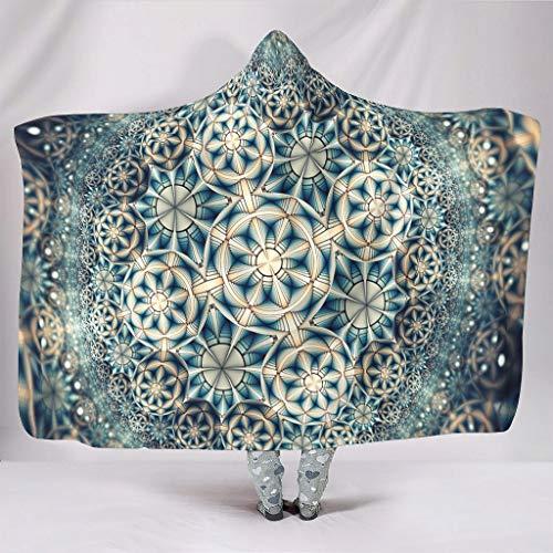 Wandlovers Manta psicodélica simetría, impresión geométrica, suave, con capucha, étnica, color blanco, 130 x 150 cm