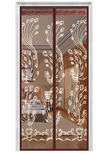 AIFENTE Magnetic Screen Door with Heavy Duty Mesh Curtain Screen Doors with Magnets (Lace Style 38'x83' Coffee)
