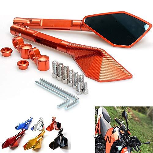 CHENWEI- CNC Aluminium-Spiegel-Zubehör Motorrad-Seitenrückspiegel for KTM 390 690 SMC 950 200 125 1290 990 Super Duke R SMT SMR (Color : Orange)