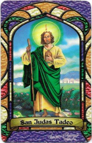 San Judas Tadeo St. Jude Bilingual Prayer Card With Vinyl Sleeve Estampa Religiosa Bilingue Con Funda De Vinilo.