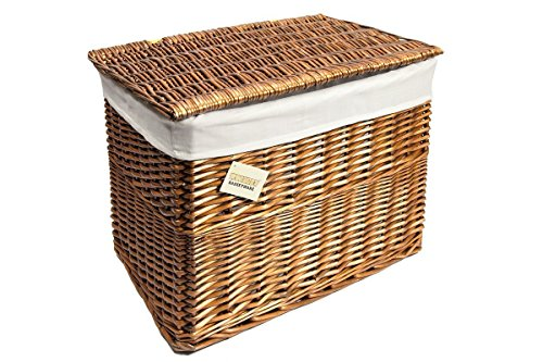 woodluv Med. Brown Wicker With White Linning Storage Basket Trunk Chest Hamper With Lid(E01-345M)