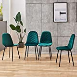 <span class='highlight'><span class='highlight'>BOJU</span></span> Occasional Green Velvet Dining Chairs Set of 4 for Kitchen Restaurant Modern Office Reception Chairs for Lounge Party Velvet Upholstered Padded Chairs with Black Metal Legs